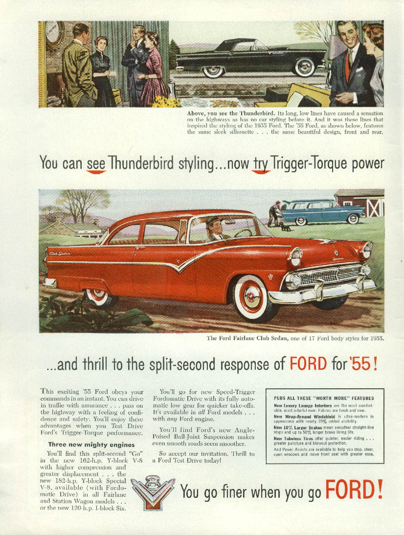 Image for Thunderbird styling . . Trigger-Torque power Ford Fairlane Club Sedan ad 1955