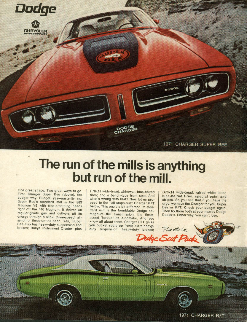 Anything but run of the mill Dodge Charger Super Bee & R/T ad 1971
