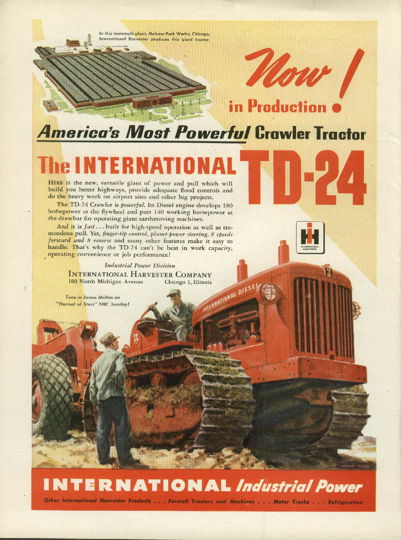 Image for Now! America's most powerful crawler tractor International TD-24 ad 1948