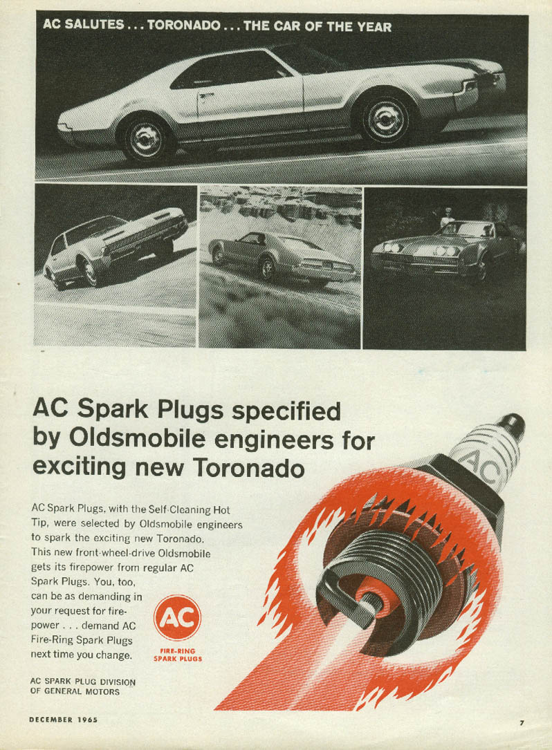 AC Spark Plugs specified by Oldsmobile enginners for Toronado ad 1966