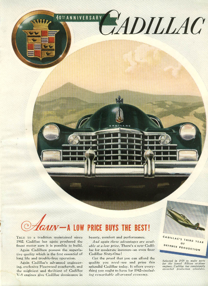 Again - a low price buys the best! Cadillac ad 1942 Bell P-39 Airacobra