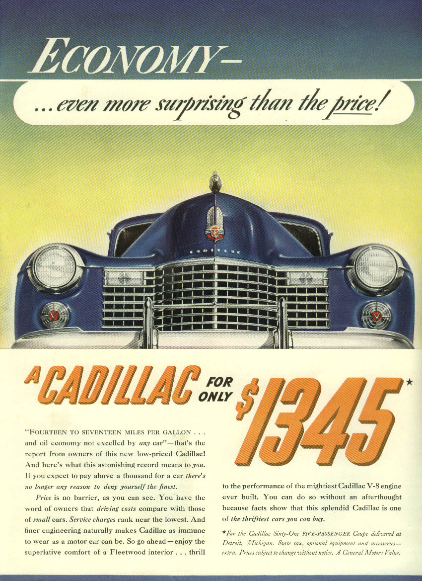 Economy even more surprising than the price! Cadillac ad 1941