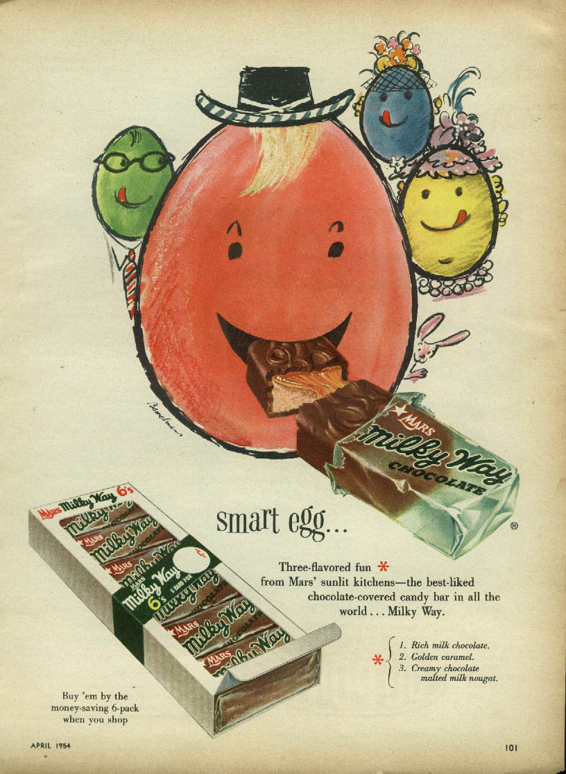Image for Smart egg three-flavored fun Milky Way Candy Bar ad 1954 Easter egg