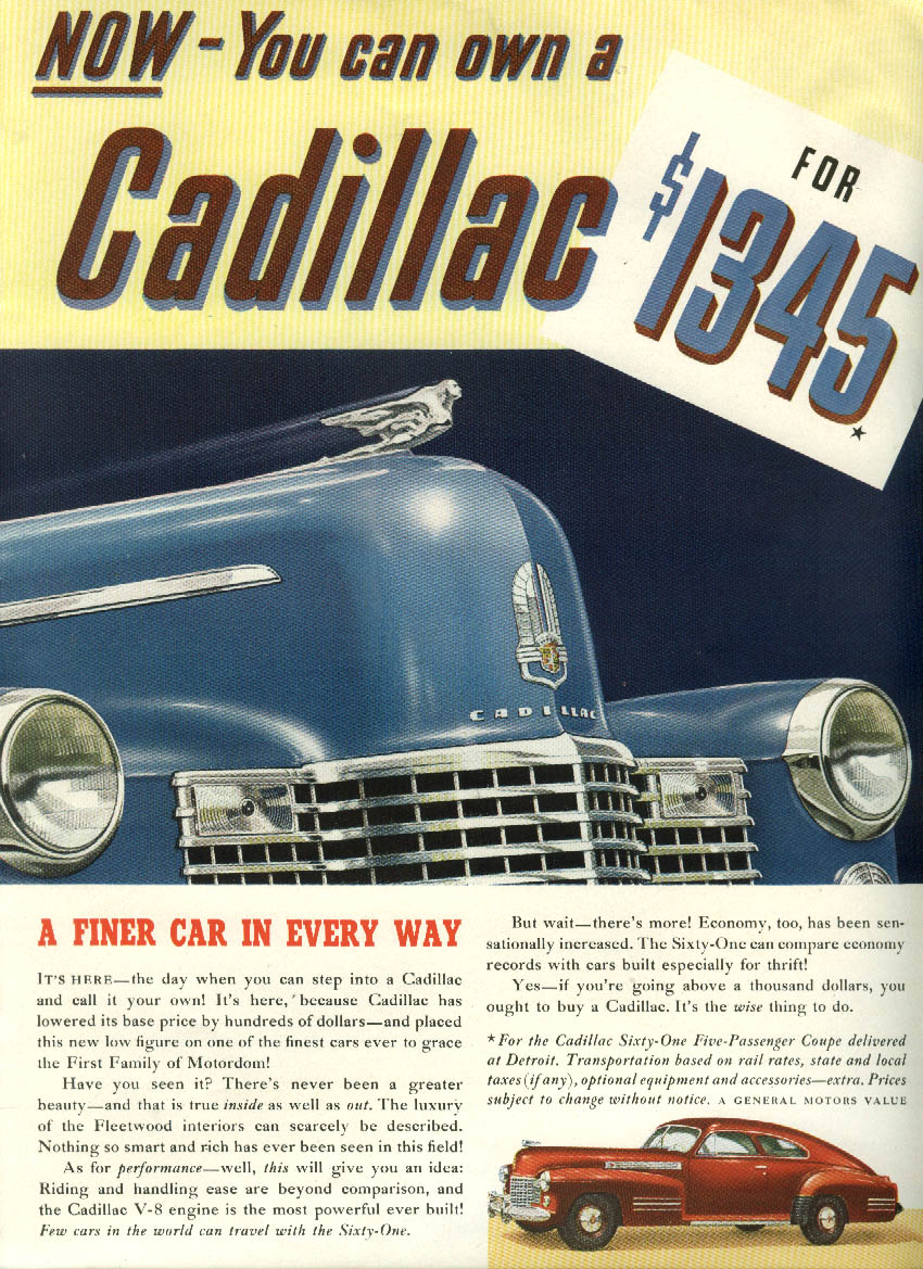 A finer car in every way Cadillac Sixty-One Coupe $1345 ad 1941 New Yorker