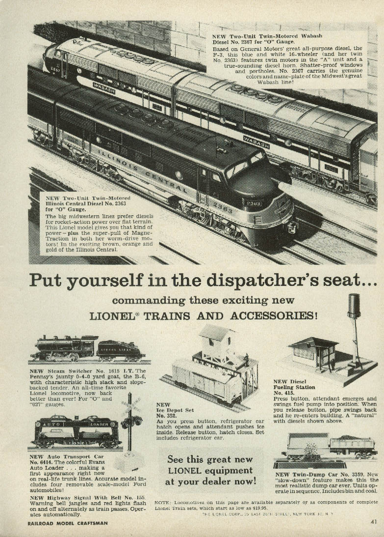 Image for Put yourself in the dispatcher's seat Lionel Diesels ad 1955 Wabash IC 0-4-0