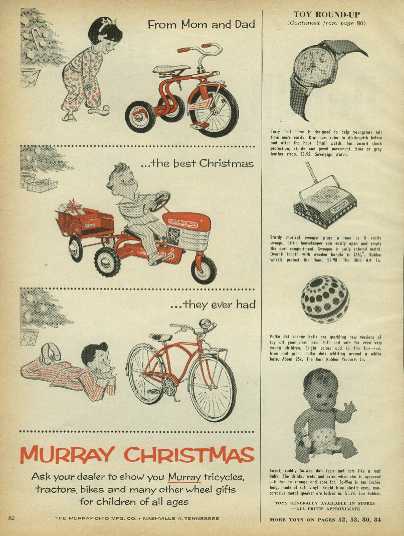 From Mom & Dad the best Christmas Murray tricycle pedal tractor bicycle ad 1957