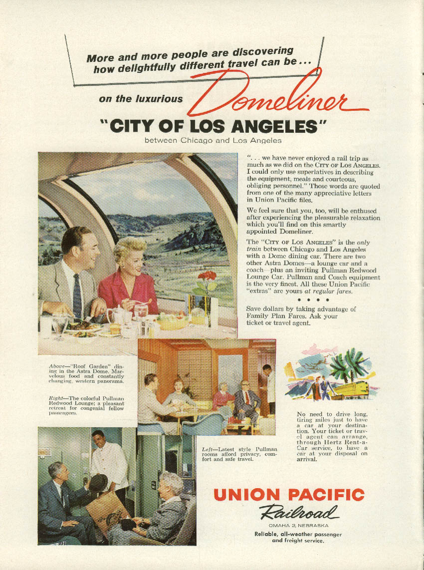 Image for City of Los Angeles Domeliner train Union Pacific Railroad ad 1958