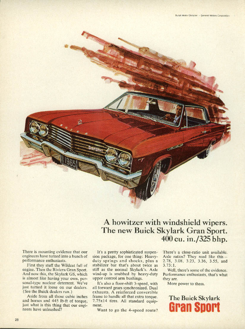 A howitzer with windshield wipers. Buick Skylark Gran Sport ad 1965