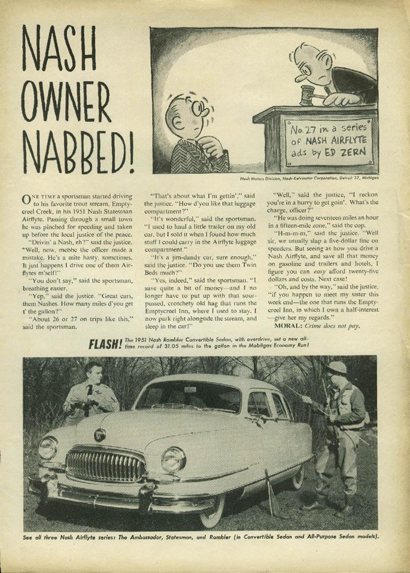 Nash Owner Nabbed! Nash Ambassador Airflyte ad by Ed Zern 1951