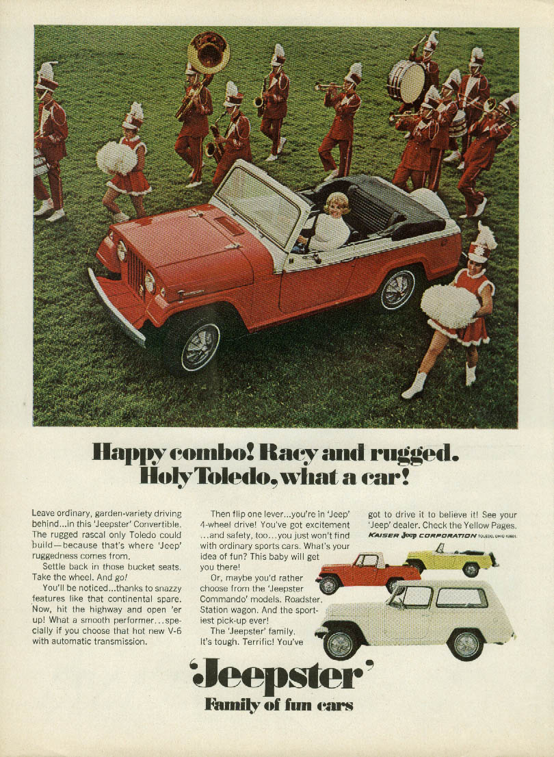 Image for Happy combo! Racy & rugged Holy Toledo, what a car! Jeep Jeepster ad 1967