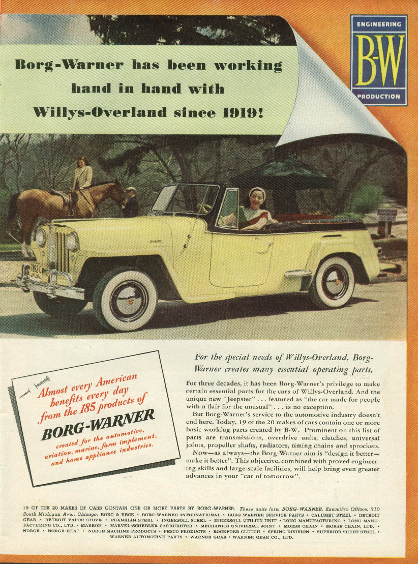 Image for Borg-Warner has been working with Willys-Overland since 1919 Jeepster ad 1949