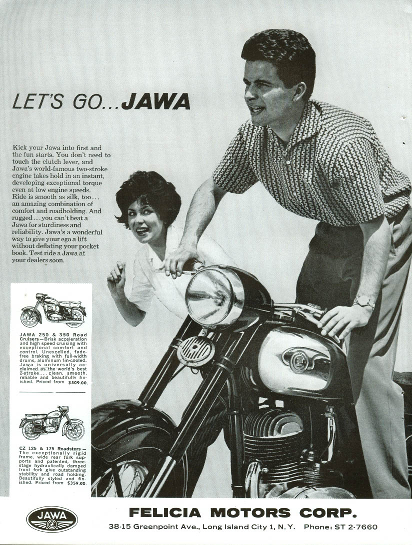 Image for Let's Go - Kick into first & the fun starts Jawa Motorcycle ad  1964