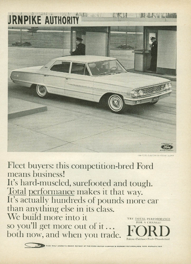 Fleet buyers: Competition-bred Ford Custom 500 means business! Ad 1964