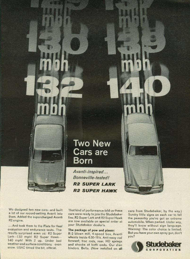 Two New Cars are born Studebaker R2 Super Lark R2 Super Hawk ad1963