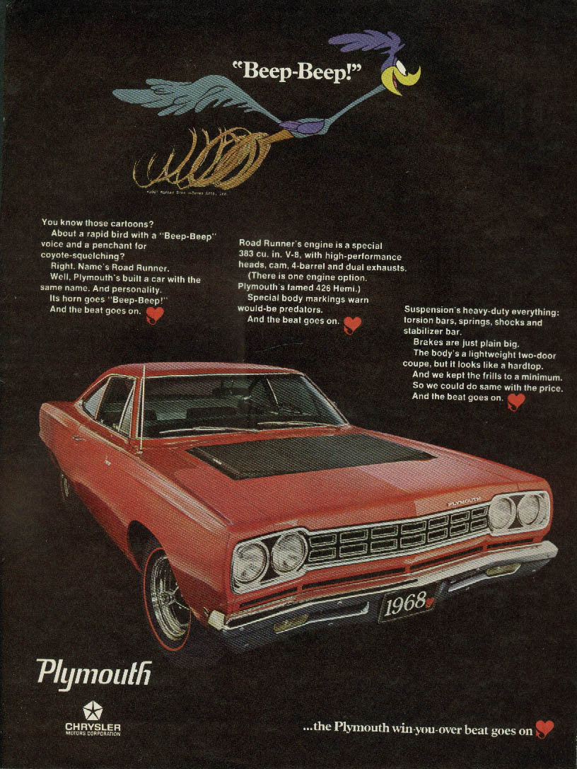 Beep-Beep! You know those cartoons? Plymouth Road Runner ad 1968