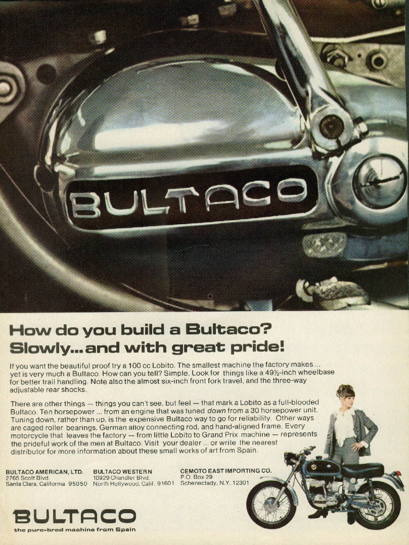 How do you build a Bultaco motorcycle? Slowly & with great price ad 1968