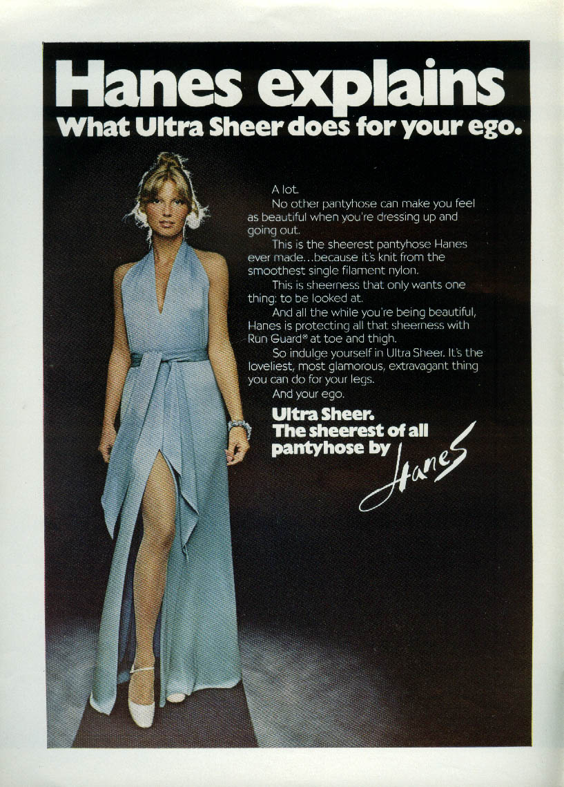 a0099a8cf2 Hanes explains what Ultra Sheer Pantyhose do for your ego ad 1972