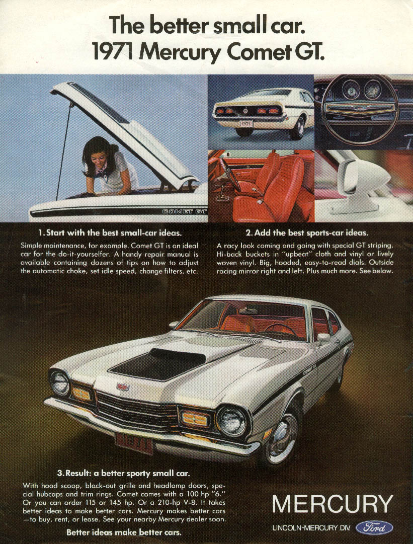 The better sporty small car 1971 Mercury Comet GT ad