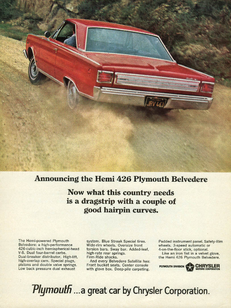 What this country needs is a dragstrp with hairpin curves Plymouth Hemi ad 1966