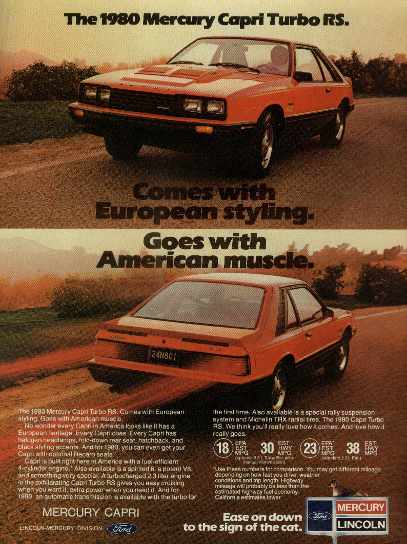 European styling American muscle Mercury Capri Turbo RS ad 1980