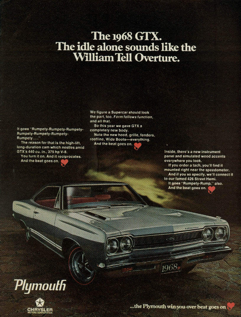 The idle alone sound like the William Tell Overture Plymouth GTX ad 1968