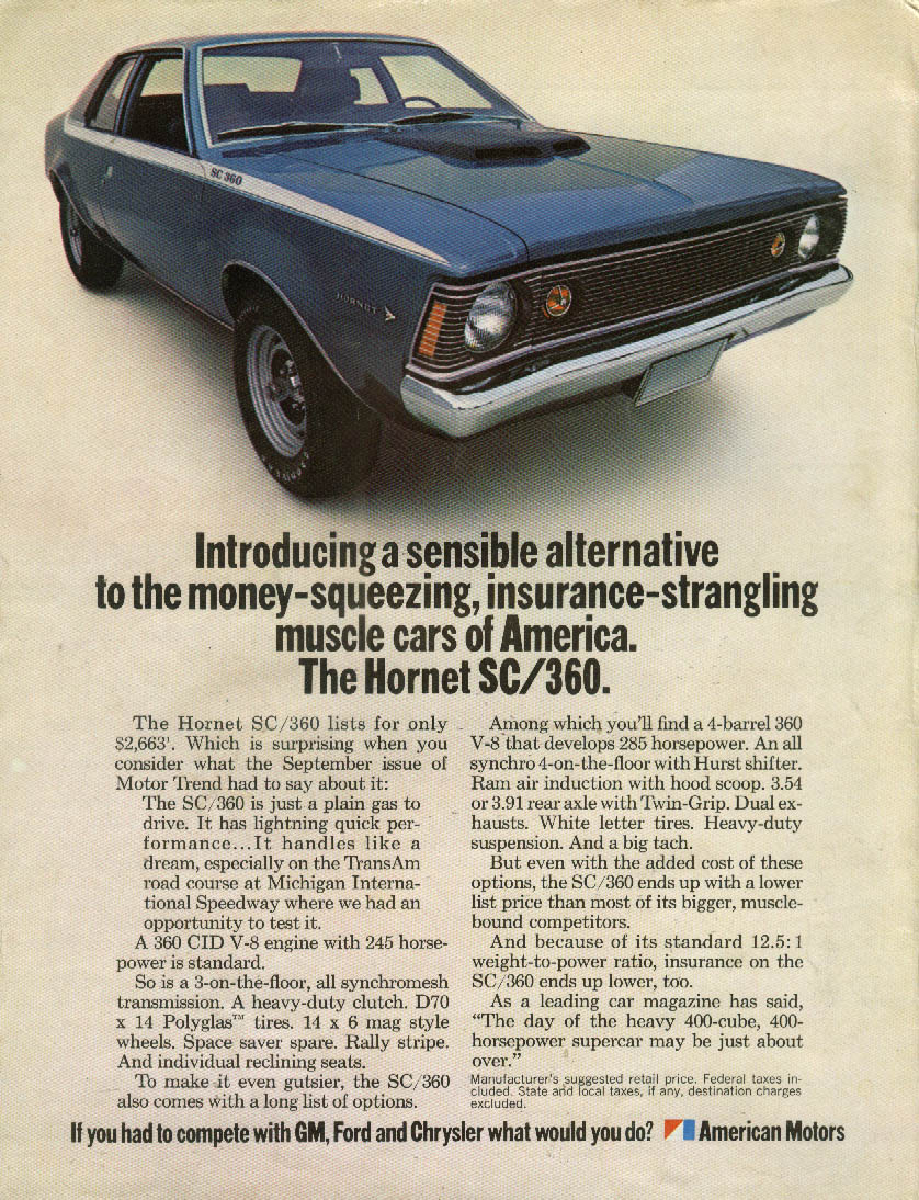 Alternative to insurance-strangling muscle cars AMC Hornet SC/360 ad 1971
