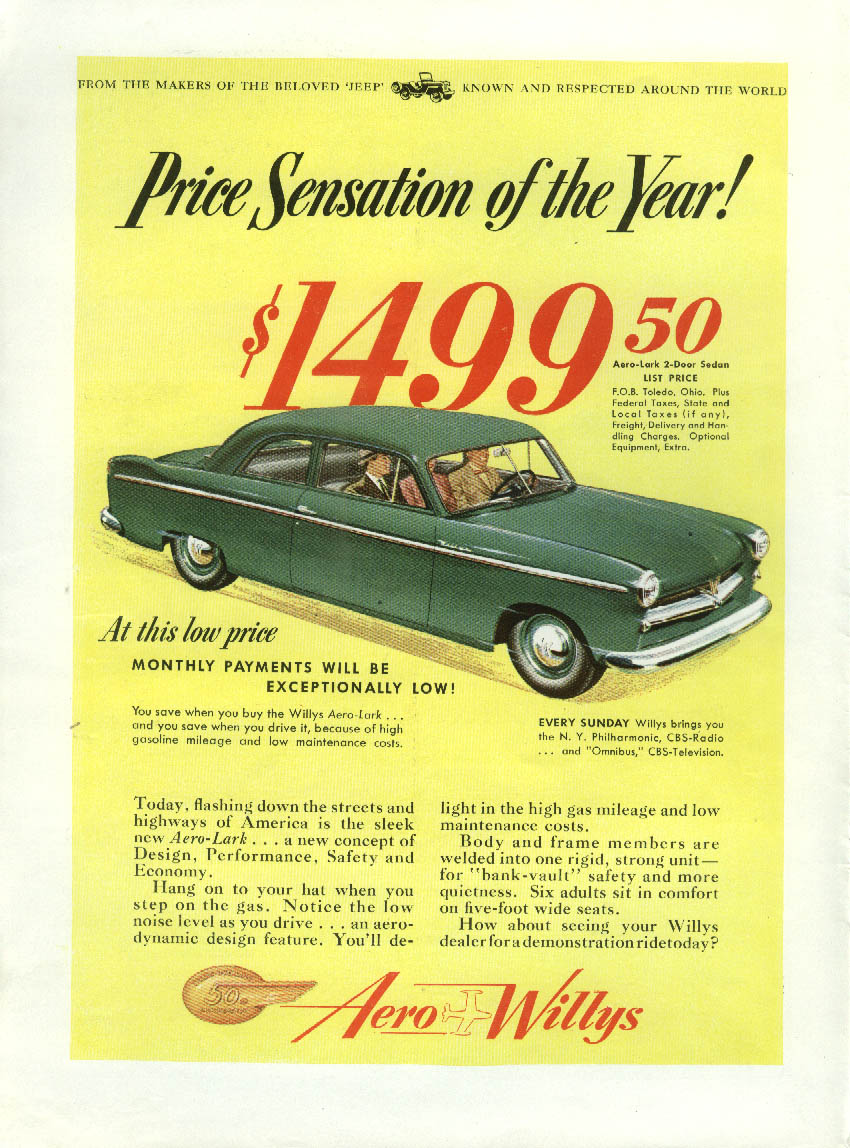 Aero Willys price sensation! / TWA Constellation let yourself go! Ad 1953