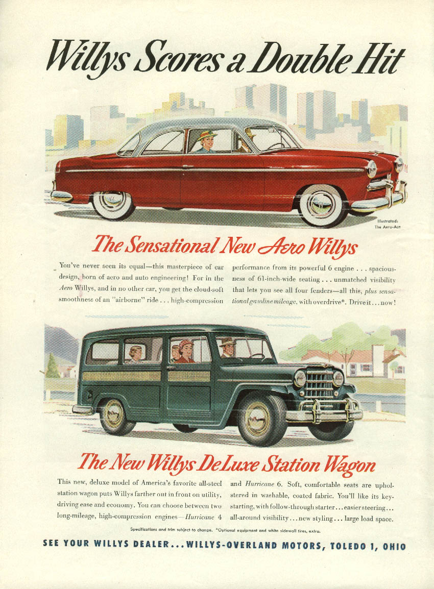 Aero Willys & Station Wagon /  United Air Lines East to West ad 1952