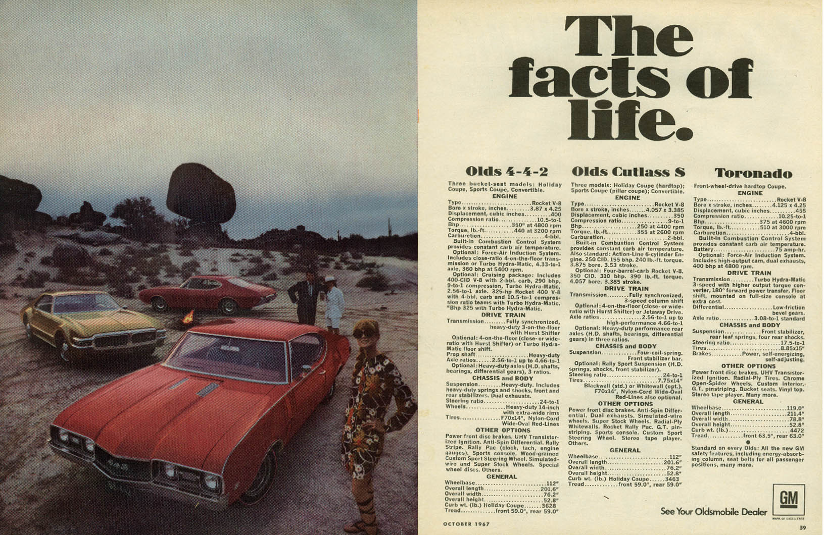 The facts of life. Oldsmobile 4-4-2 Cutlass S Toronado ad 1968