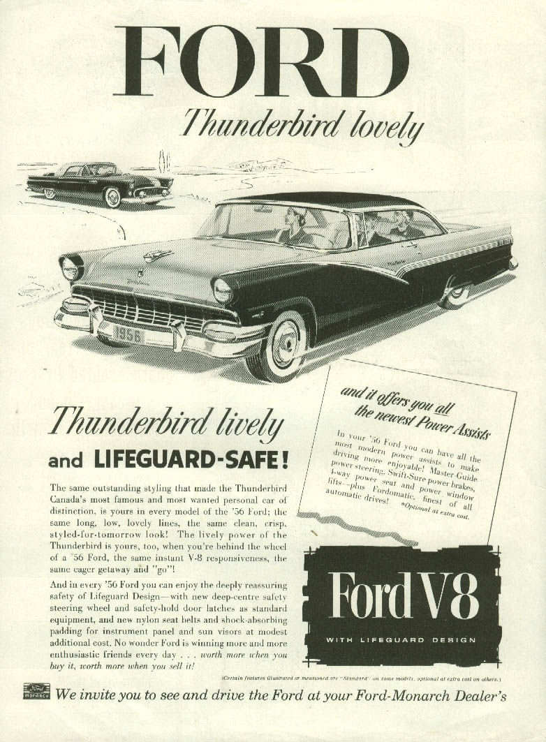 Image for Ford Thunderbird lovely Ford Victoria lifeguard-safe ad 1956