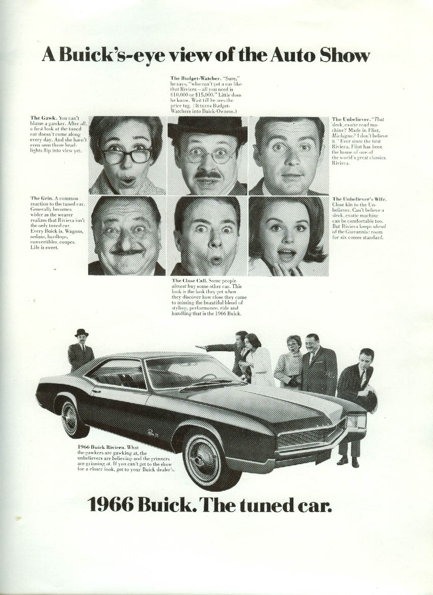 A Buick's eye view of the Auto Show Buick Riviera GS ad 1966