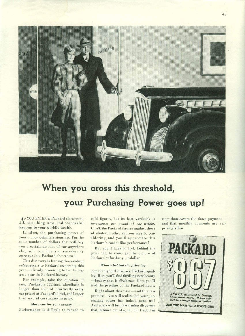 Cross this threshold & Your purchasing power goes up Packard ad 1940