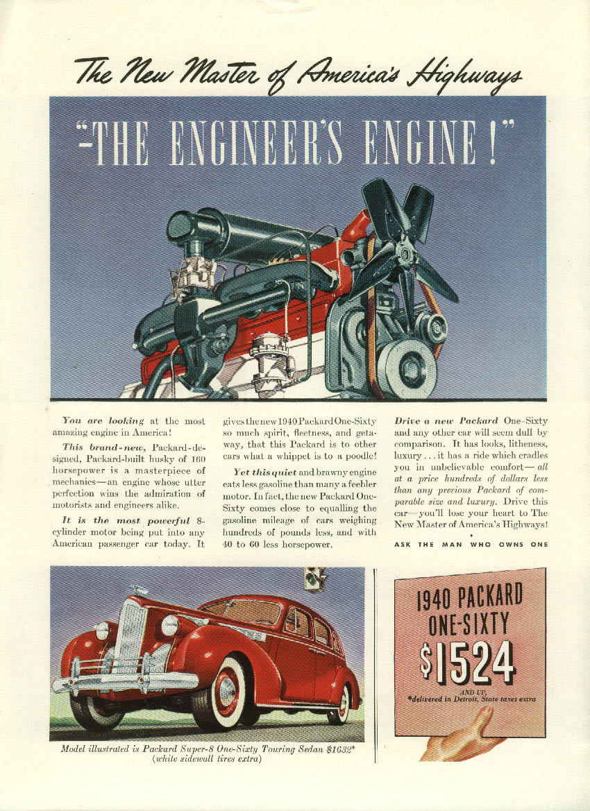 The Engineer's Engine Packard One-Sixty Touring Sedan ad 1940