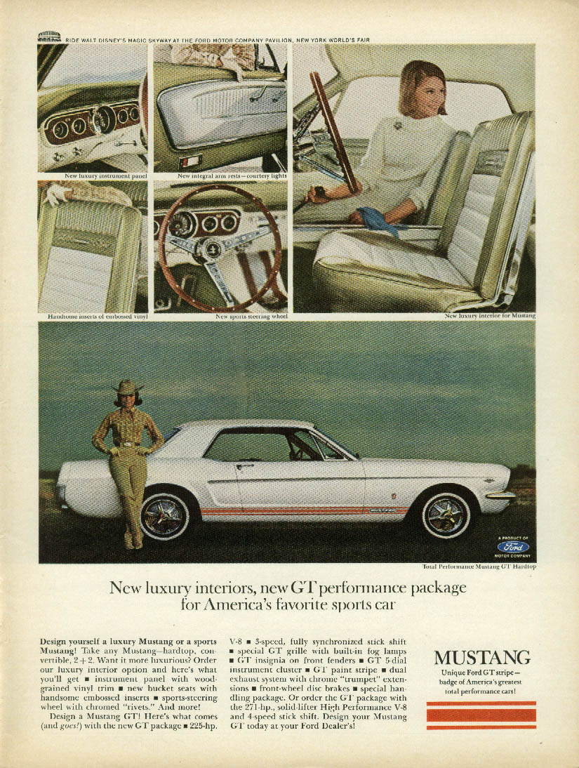 New luxury interiors new GT Performance Package Mustang ad 1965