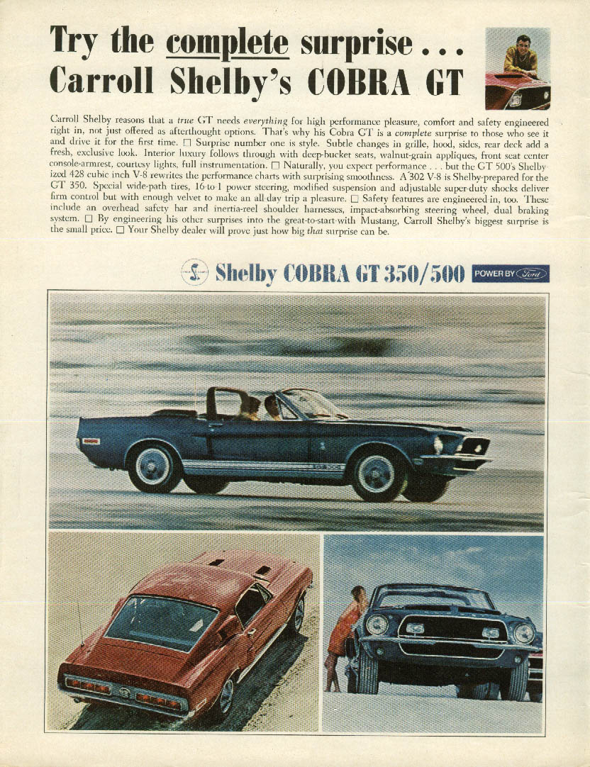 Image for Try the complete surprise Carroll Shelby's Cobra GT 350 / 500 ad 1968 Mustang