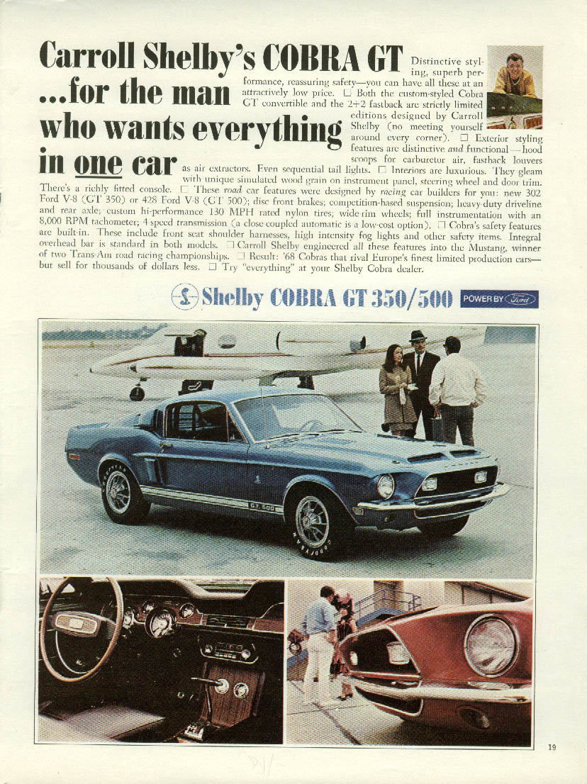 For the man who wants everything in one car Shelby GT 350 / 500 ad 1968 Mustang