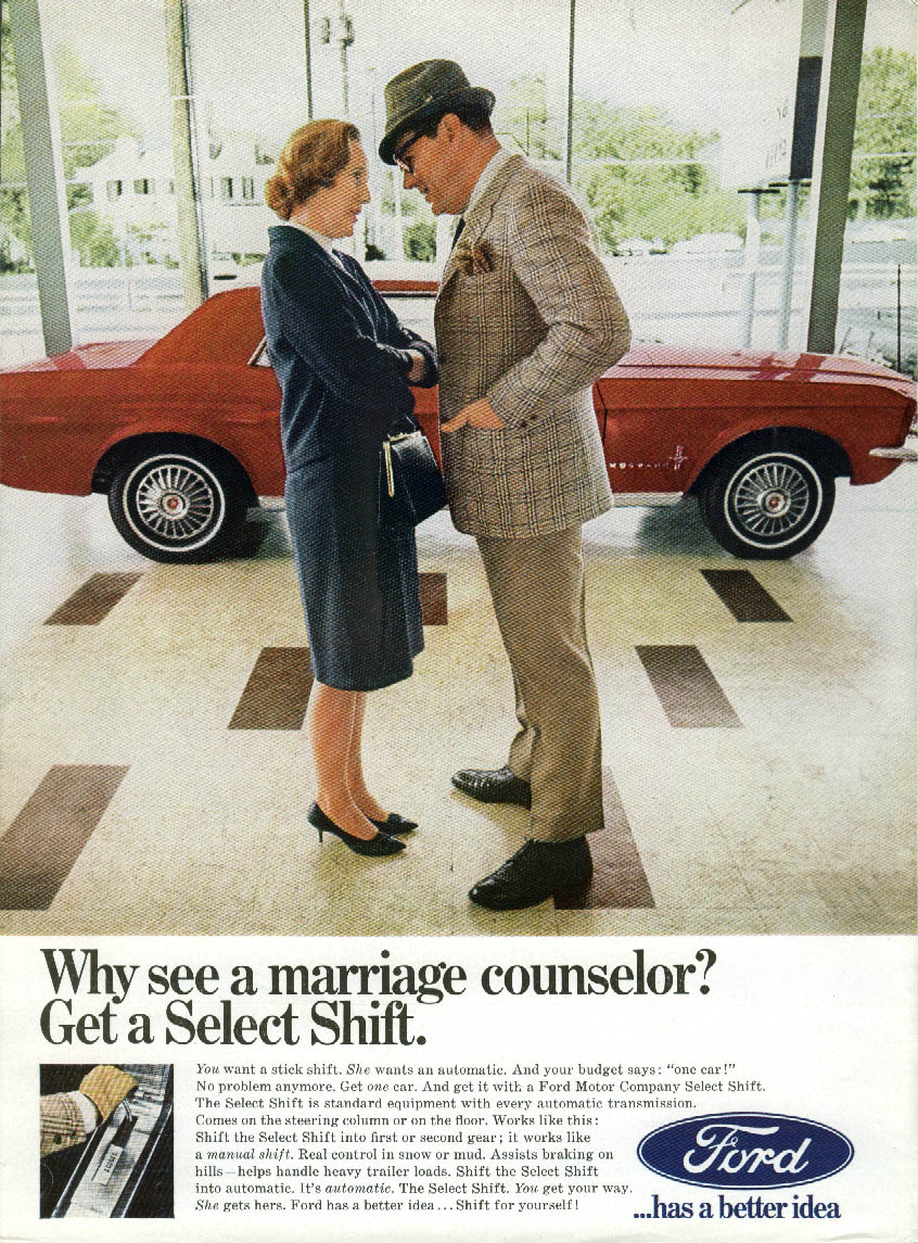 Image for Why see a marriage counselor? Get a Mustang with Select Shift ad 1967