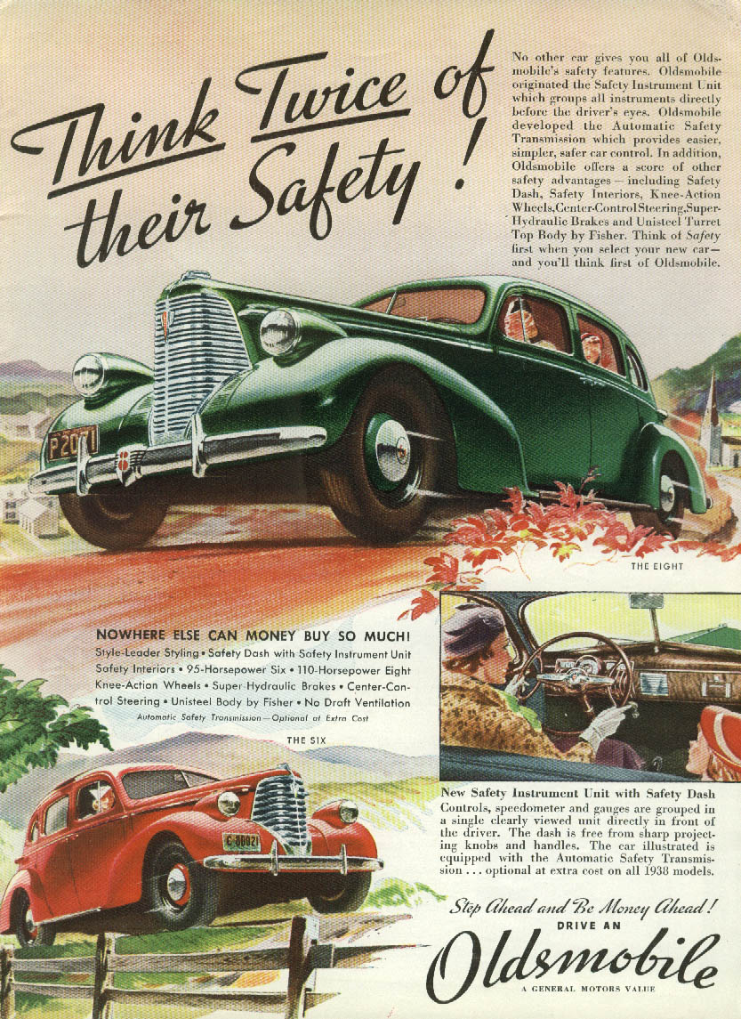 Think Twice of their Safety! Oldsmobile Eight & Six ad 1938