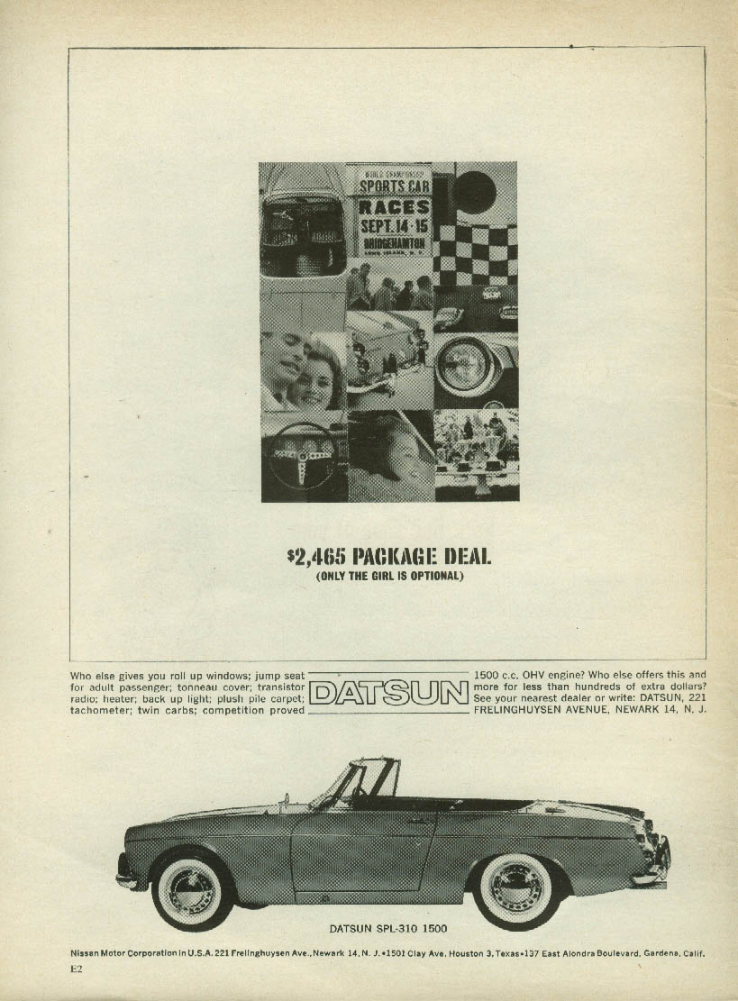 $2465 package deal - Only the girl is optional Datsun SPL-310 1500 ad 1964