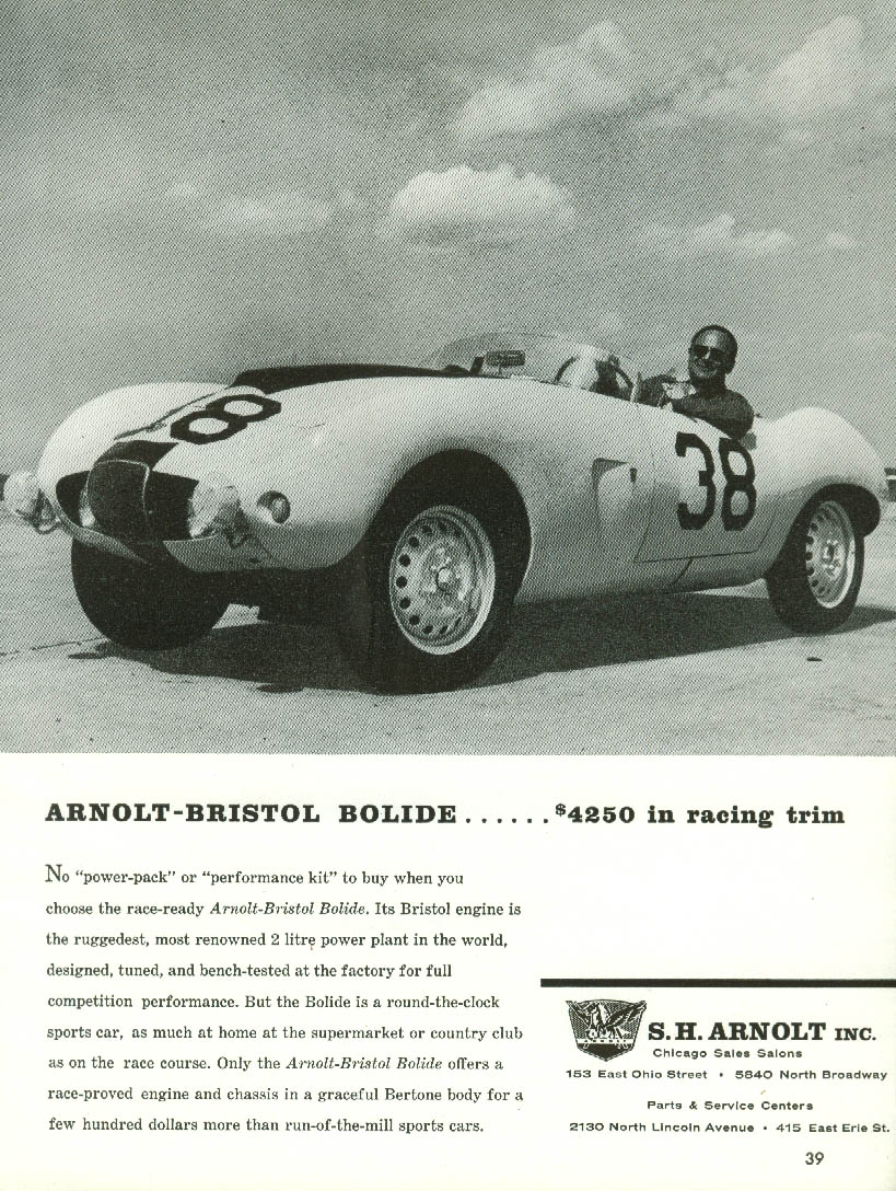$4250 in racing trim - Arnolt-Bristol Bolide sports car ad 1958