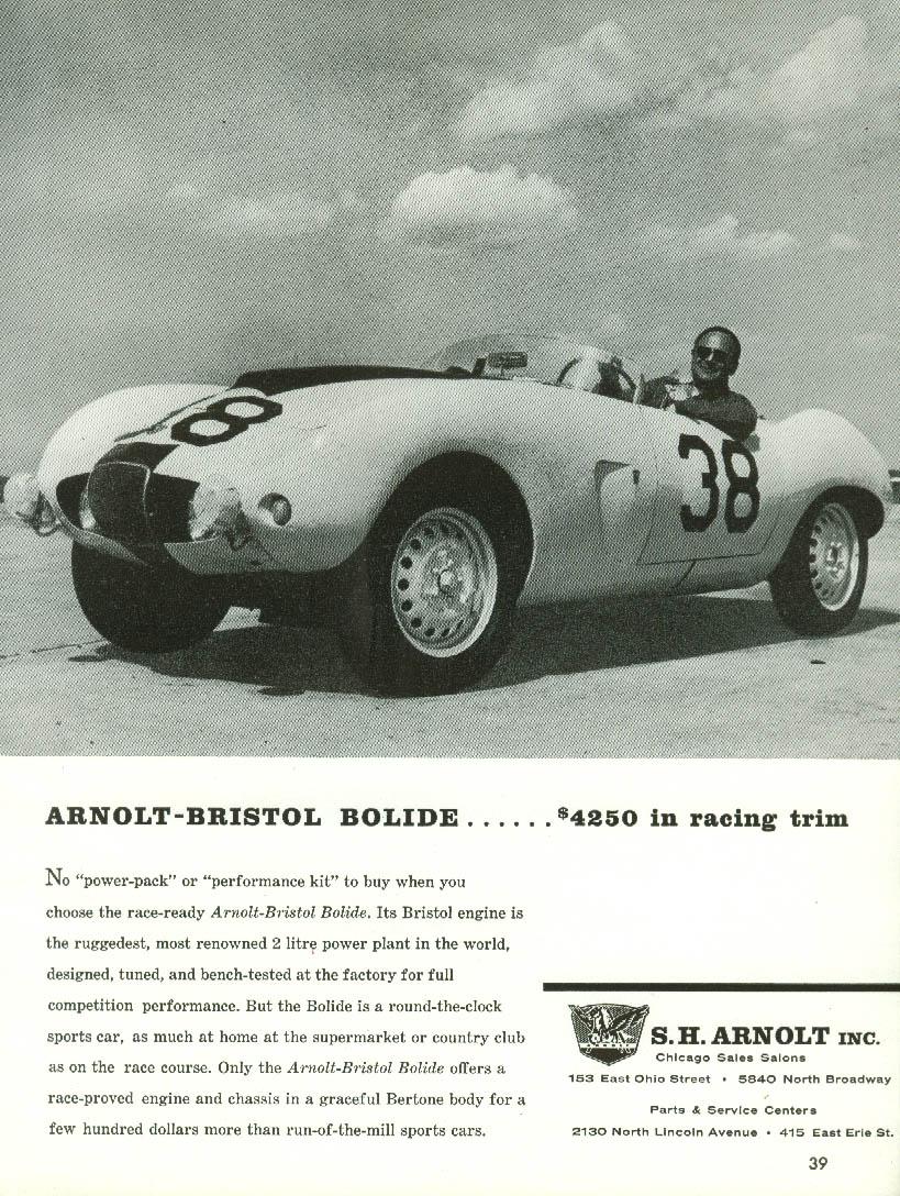 $4250 in racing trim - Arnolt-Bristol Bolide sports car ad 1958