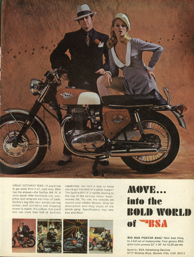 Image for Great Getaway Bike BSA Spitfire MK IV ad 1968 Bonnie & Clyde types