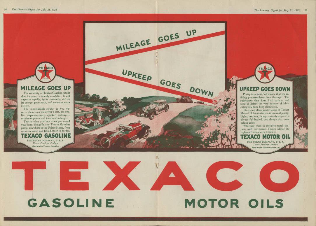Image for Mileage goes up Upkeep goes down Texaco Gasoline & Motor Oil ad 1923