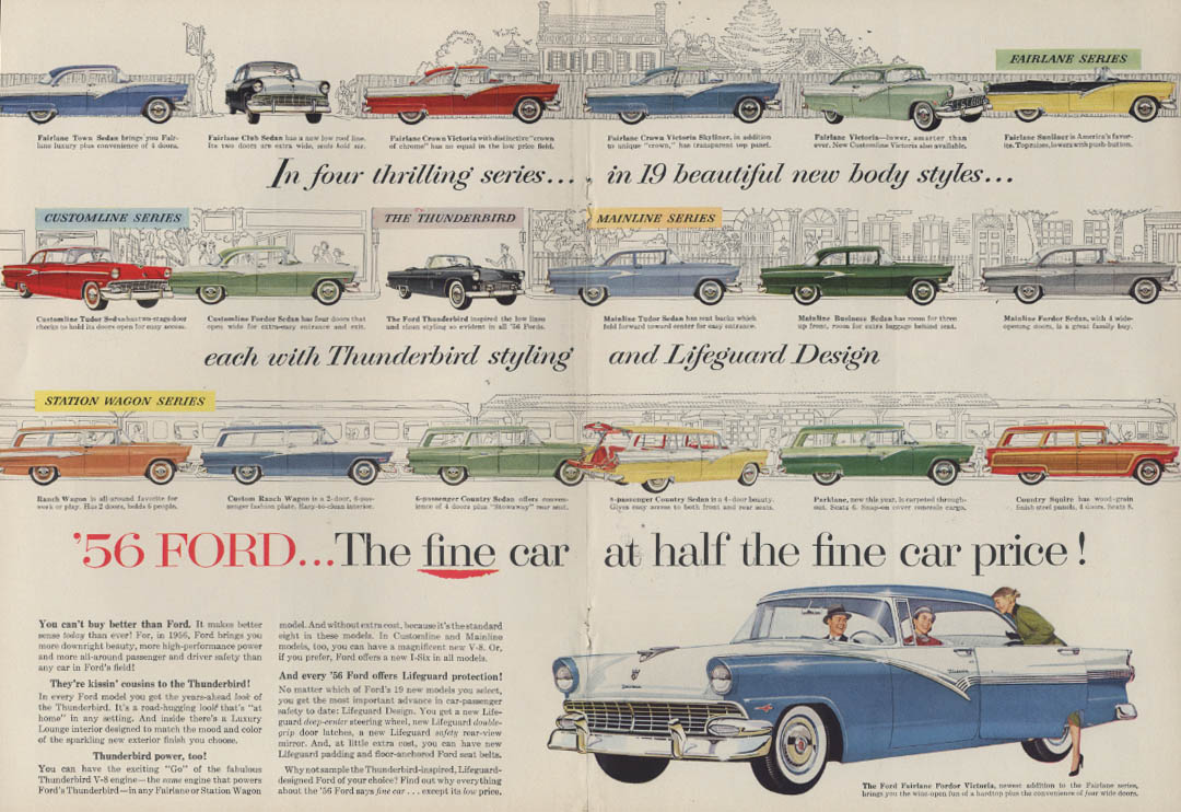 4 thrilling series 19 body styles Thunderbird styling Ford ad 1956 New Yorker