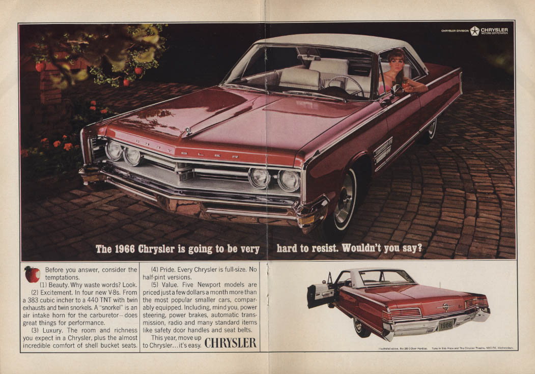 Image for Hard to resist, wouldn't you say? Chrysler 300 2-door hardtop ad 1966