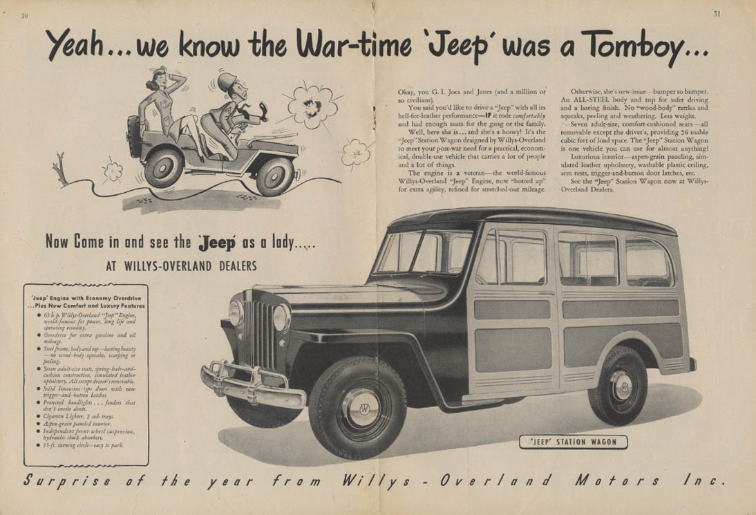 Image for Yeah we know the war-time Jeep was a tomboy Jeep Station Wagon ad 1946