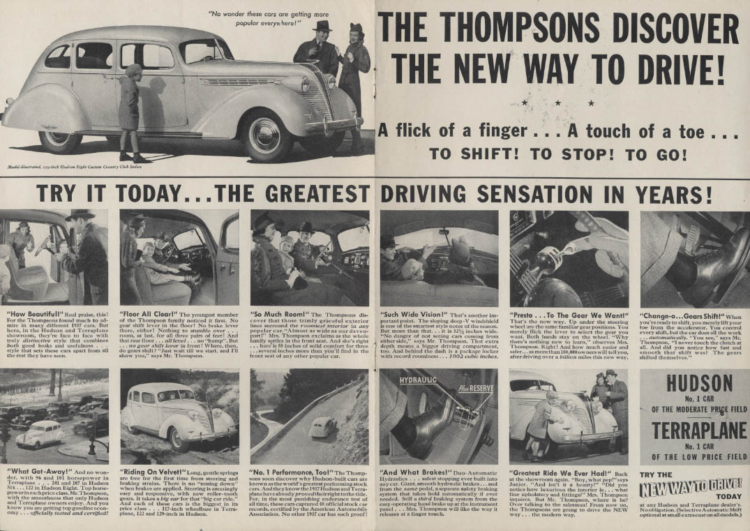Image for Thompsons discover new way to drive Hudson 8 Custom Sedan ad 1937