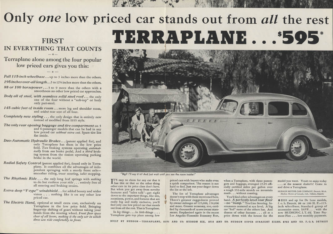 Image for Only one low priced car stands out Hudson Terraplane ad 1936