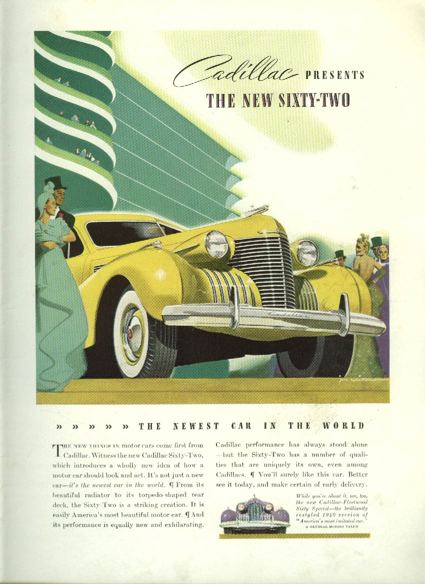 Cadillac presents the new Sixty-Two newest car in the world ad 1940