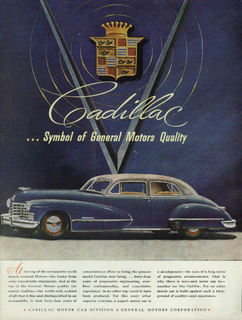 At the top of the automotive world Cadillac 4-door sedan ad 1946 T